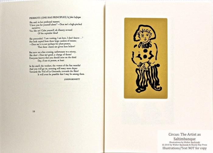 Shanty Bay Press, List of Illustrations, Sample Text #7 & Little Pierrot linocut