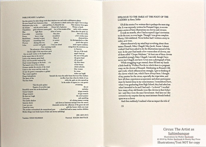 CIRCUS: The Artist as Saltimbanque, Shanty Bay Press, Sample Text #7