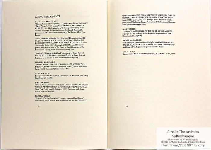 CIRCUS: The Artist as Saltimbanque, Shanty Bay Press, Acknowlegments