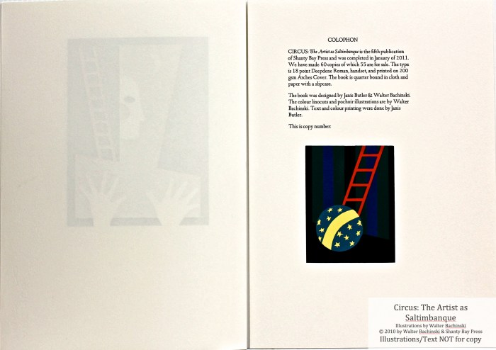 CIRCUS: The Artist as Saltimbanque, Shanty Bay Press, Colophon