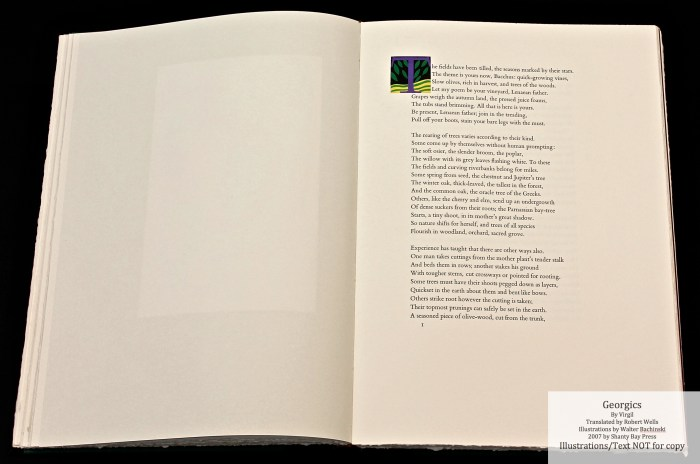 Georgics, Shanty Bay Press, Book Two Initial