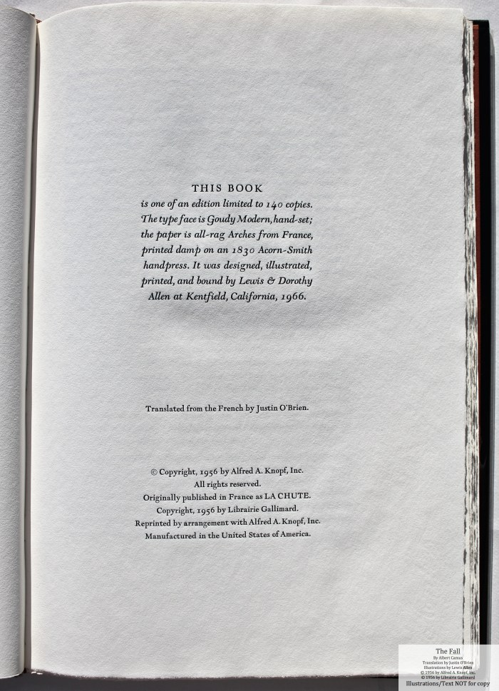 The Fall, Allen Press, Colophon