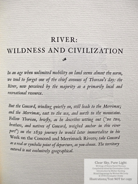 Clear Sky, Pure Light, The Penmaen Press, Introductory page by C. Childs for 'River: Wildness and Civilization' chapter