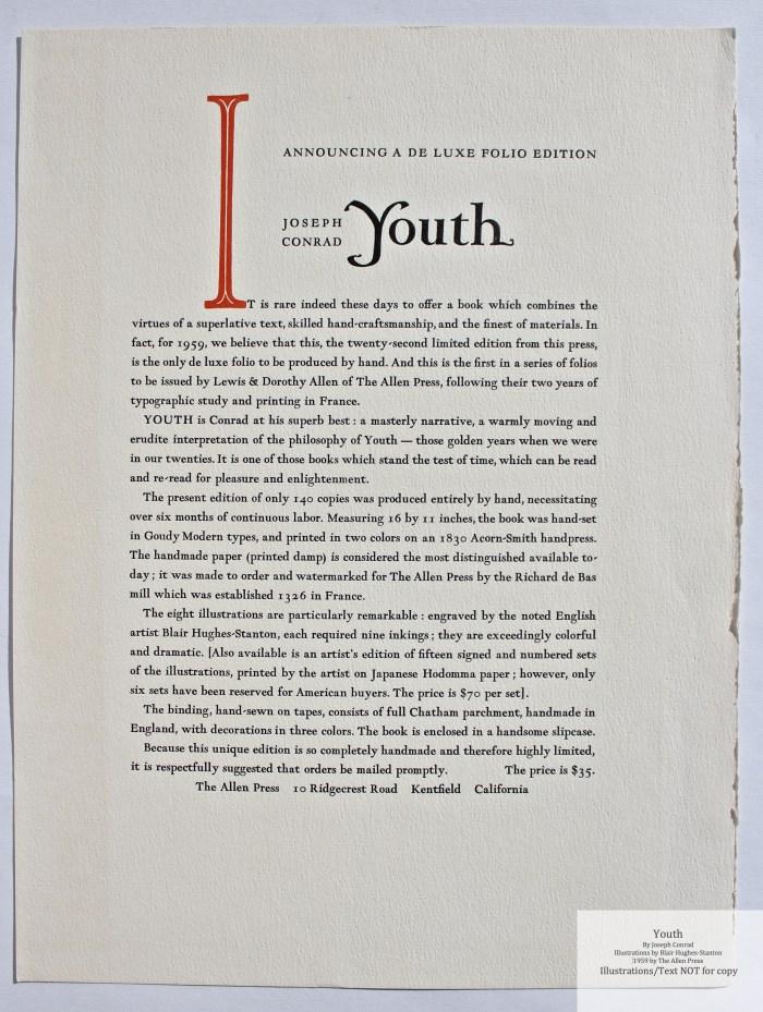 Youth, Allen Press, Prospectus