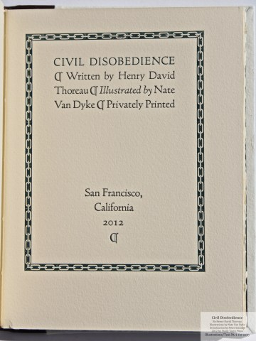 Civil Disobedience, Sharp Teeth Press, Title Page