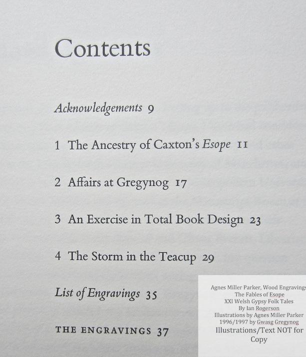 Agnes Miller Parker Wood-Engravings (Esope), Gregynog Press, Contents