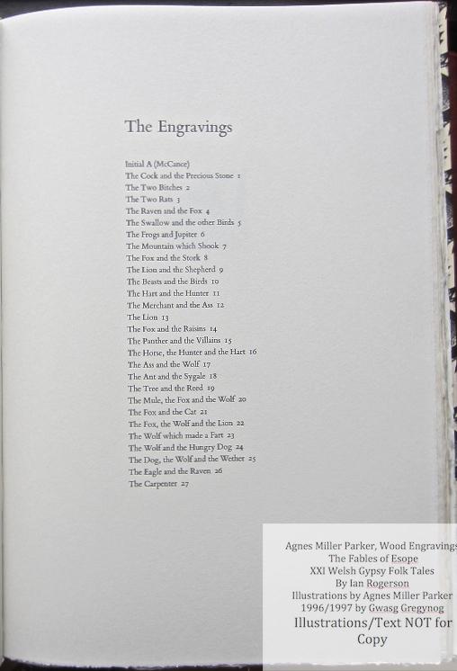 Agnes Miller Parker Wood-Engravings (Esope), Gregynog Press, List of Engravings