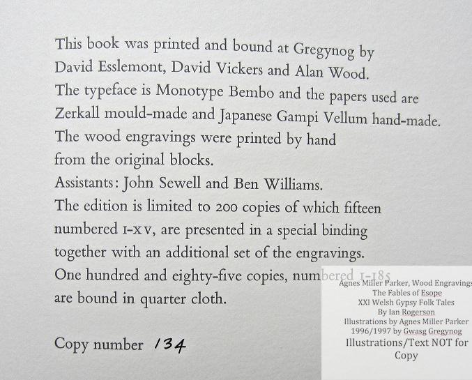 Agnes Miller Parker Wood-Engravings (Esope), Gregynog Press, Colophon