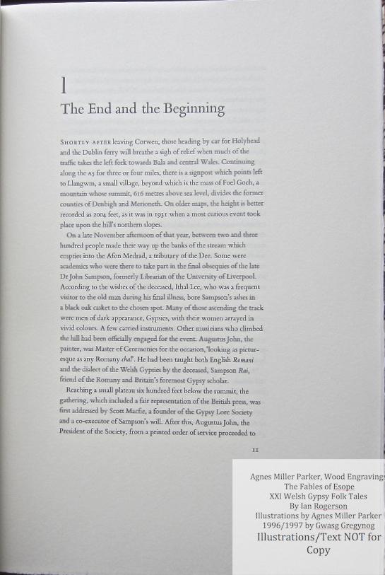 Agnes Miller Parker Wood-Engravings (Welsh Gypsy), Gregynog Press, Sample Text #1