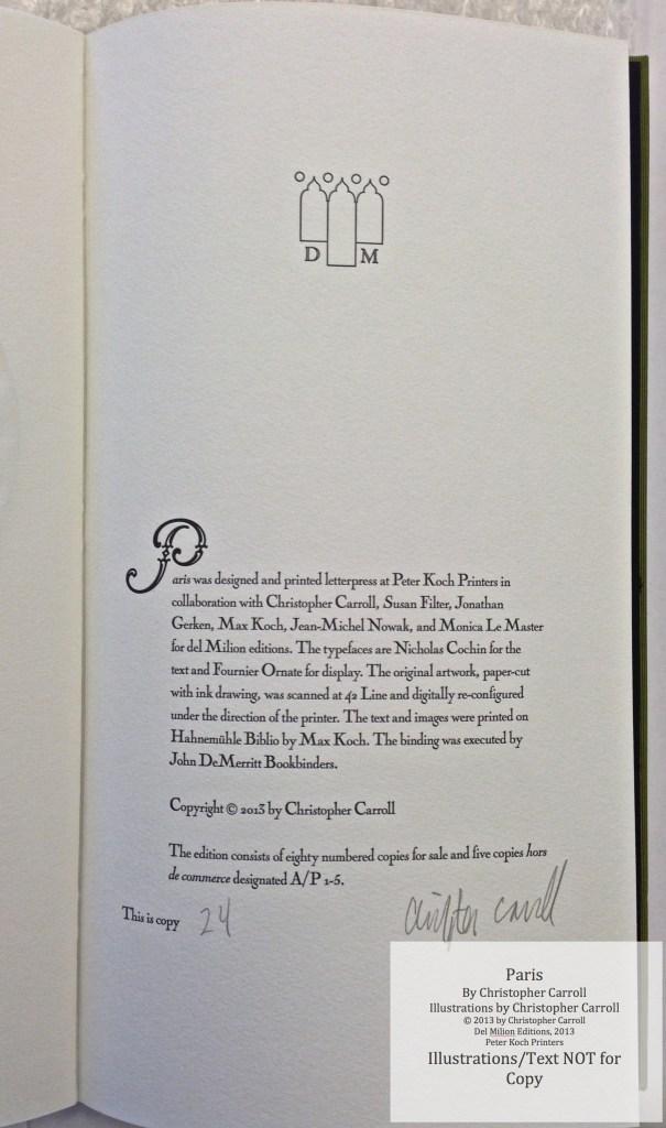 Paris, Peter Koch Printers, Colophon