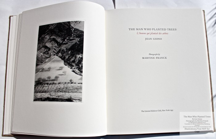 The Man Who Planted Trees, Limited Editions Club, Frontispiece and Title Page