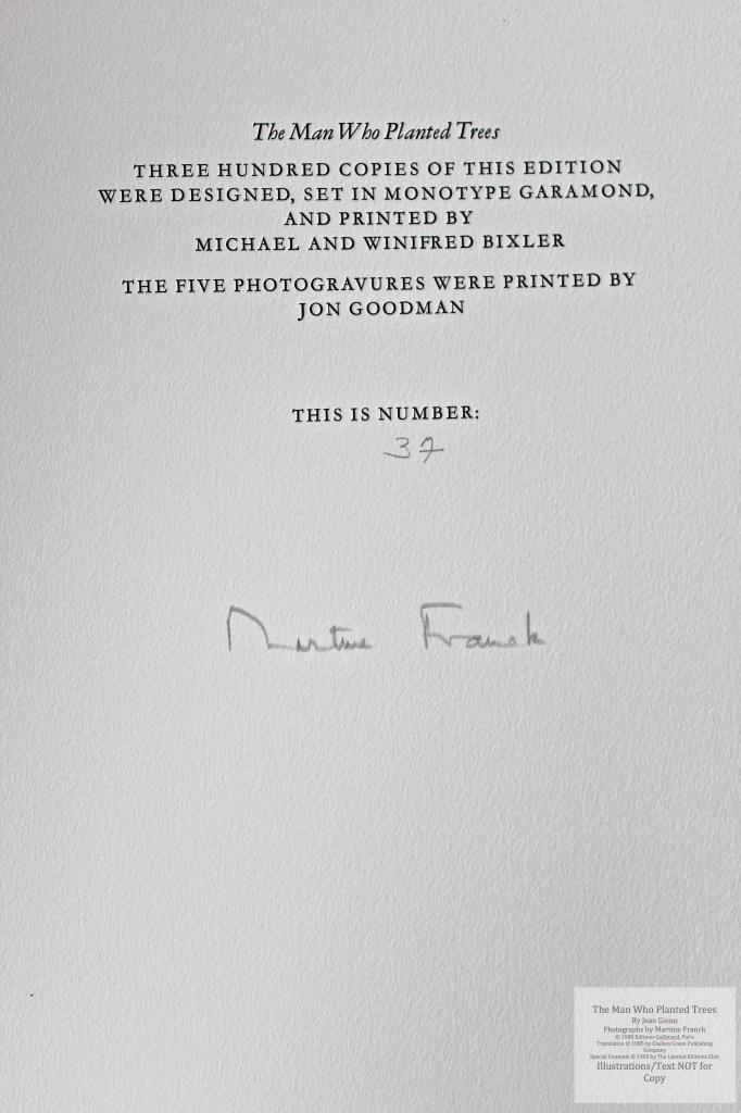 The Man Who Planted Trees, Limited Editions Club, Colophon