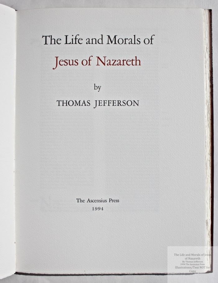 The Life and Morals of Jesus of Nazareth, The Ascensius Press, Title Page