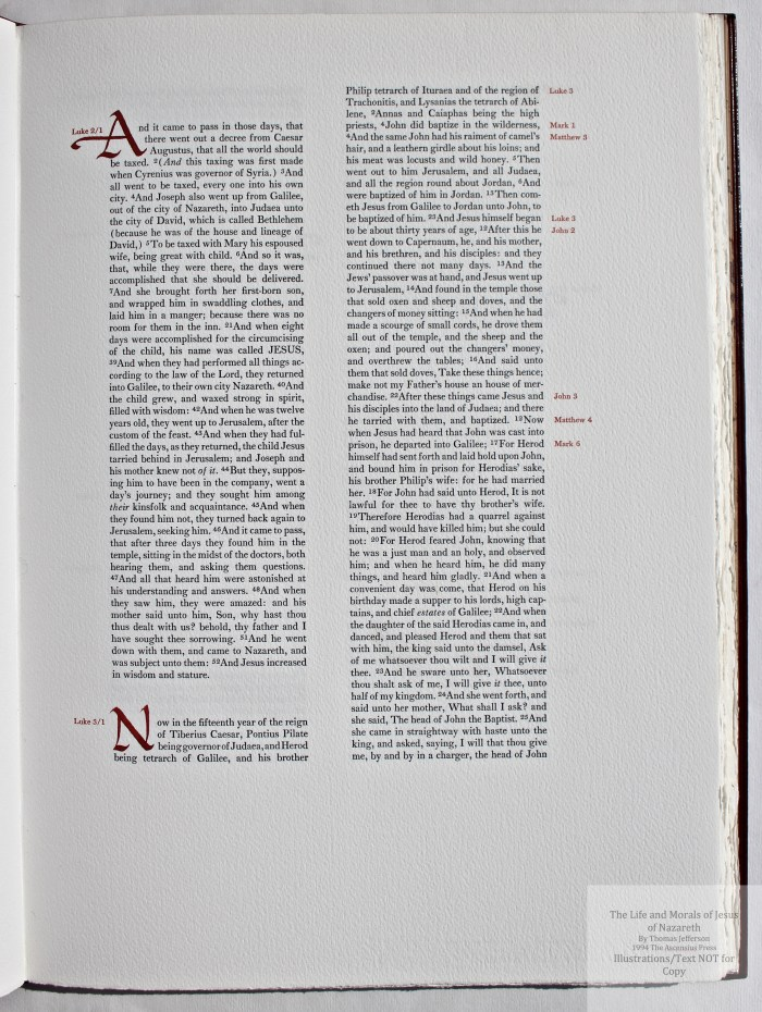 The Life and Morals of Jesus of Nazareth, The Ascensius Press, Sample Text #1