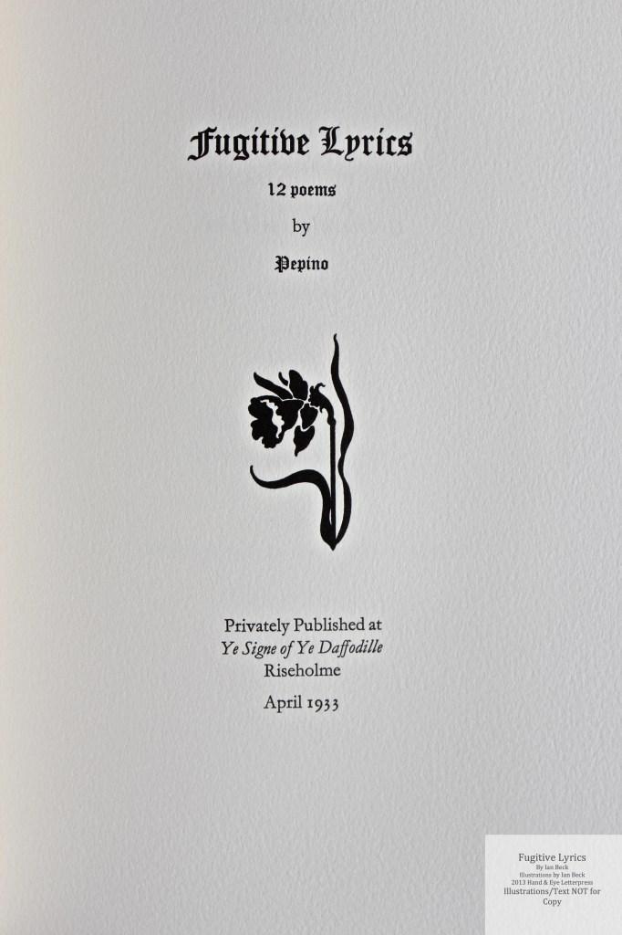 Fugitive Lyrics, Hand & Eye Letterpress, Title Page