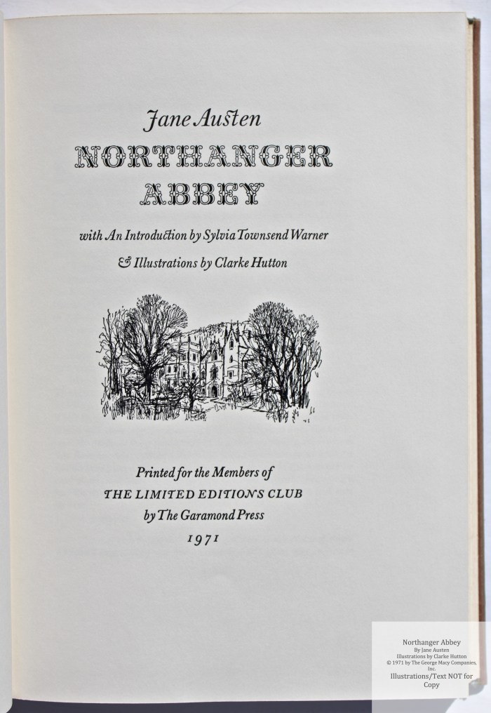 Northanger Abbey, Limited Editions Club, Title Page