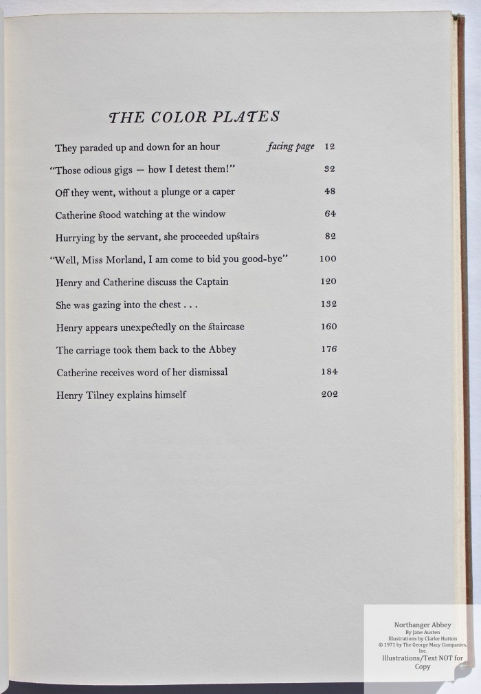 Northanger Abbey, Limited Editions Club, List of Color Plates
