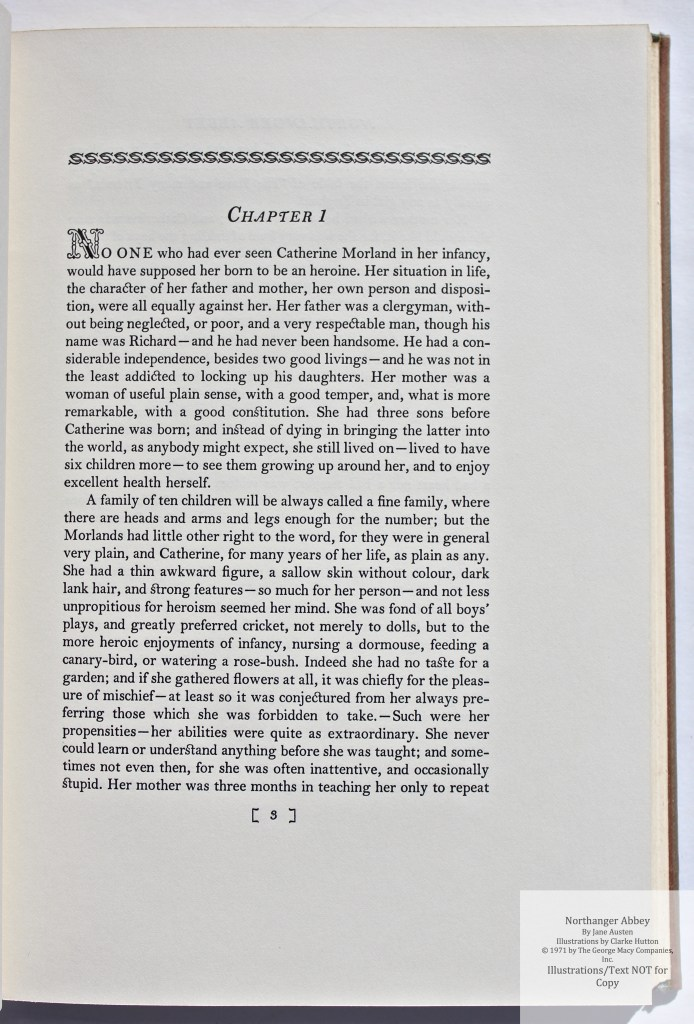 Northanger Abbey, Limited Editions Club, Sample Text #2