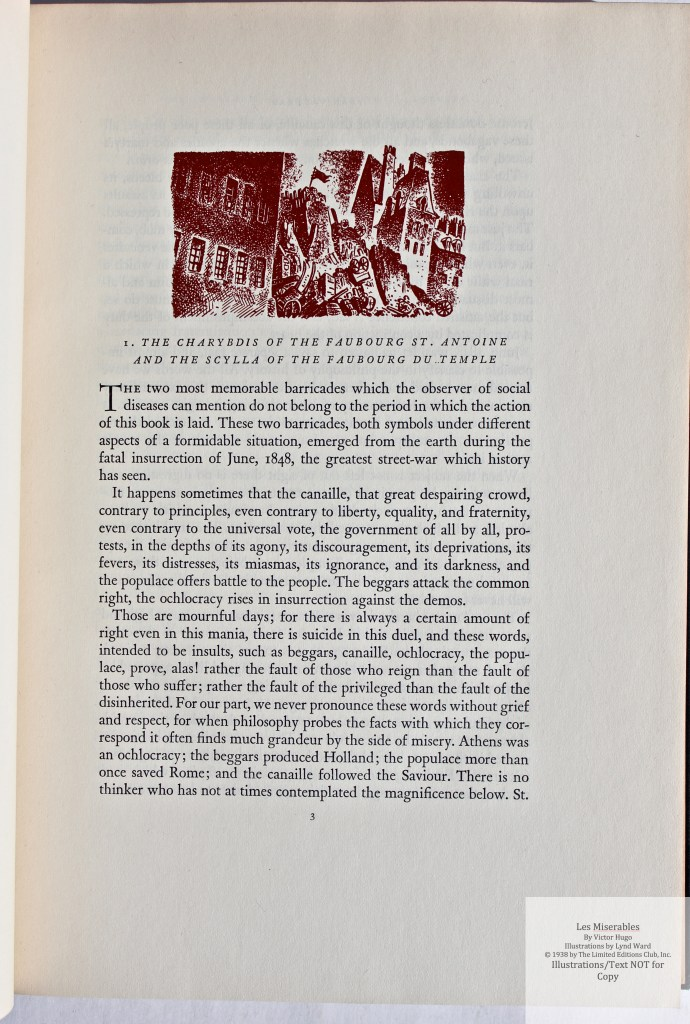 Les Miserables, Limited Editions Club, Sample Illustration #17 with Text