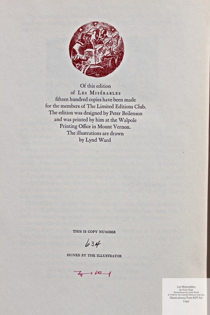 Les Miserables, Limited Editions Club, Colophon