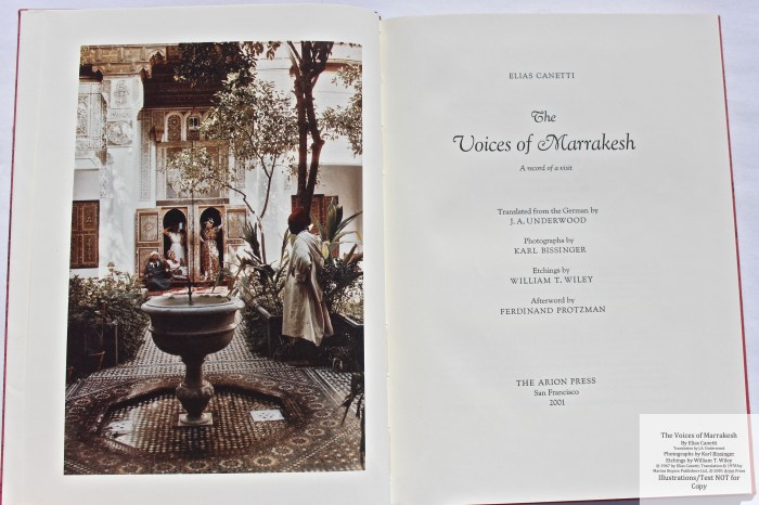 The Voices of Marrakesh, Arion Press, Frontispiece and Title Page
