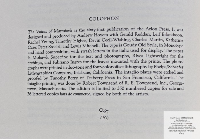 The Voices of Marrakesh, Arion Press, Colophon