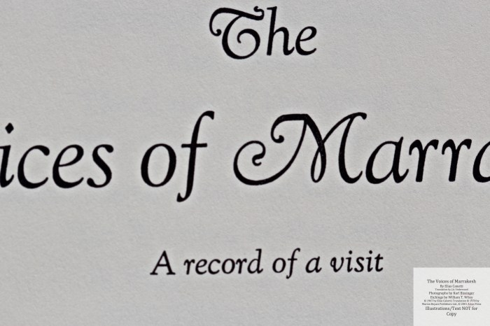 The Voices of Marrakesh, Arion Press, Macro of Title Page