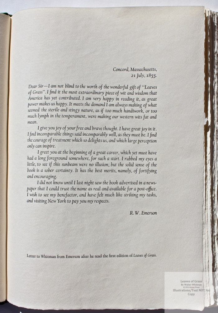 Leaves of Grass, Arion Press, Sample Text #3 (Preface)