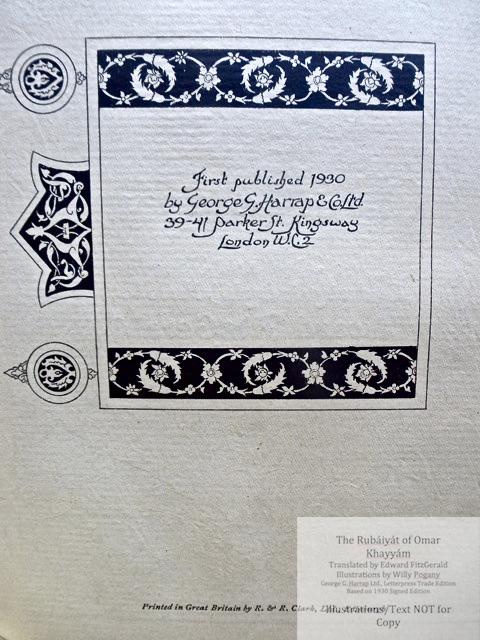 The Rubáiyát of Omar Khayyám, George G. Harrap & Co Ltd., Colophon