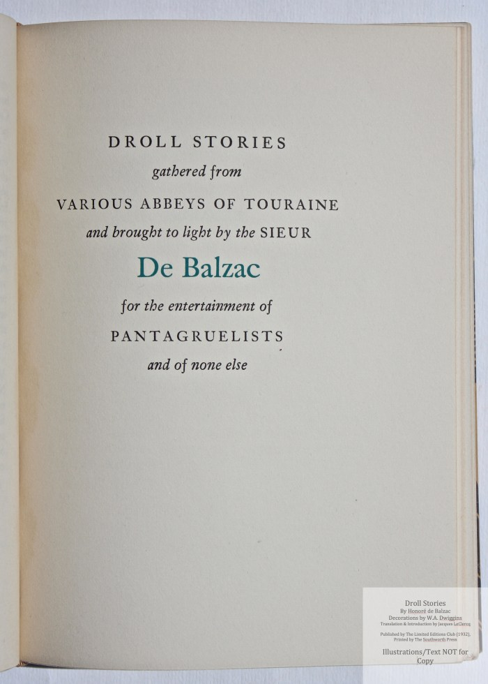 Droll Stories, Limited Editions Club, Half-title