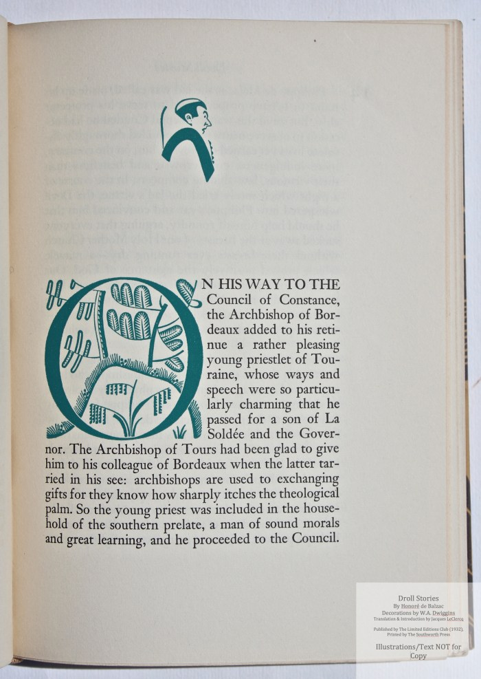 Droll Stories, Limited Editions Club, Sample Decoration with Text #3