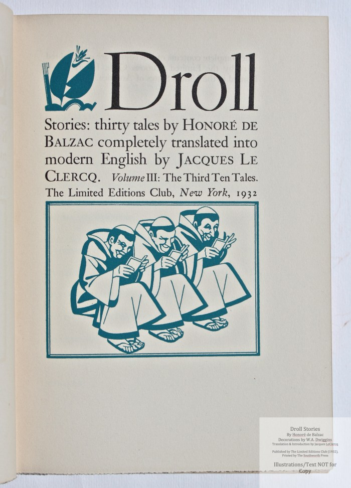 Droll Stories, Limited Editions Club, Title Page (vol 3)