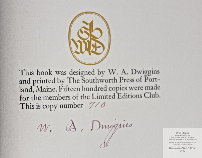 Droll Stories, Limited Editions Club, Colophon