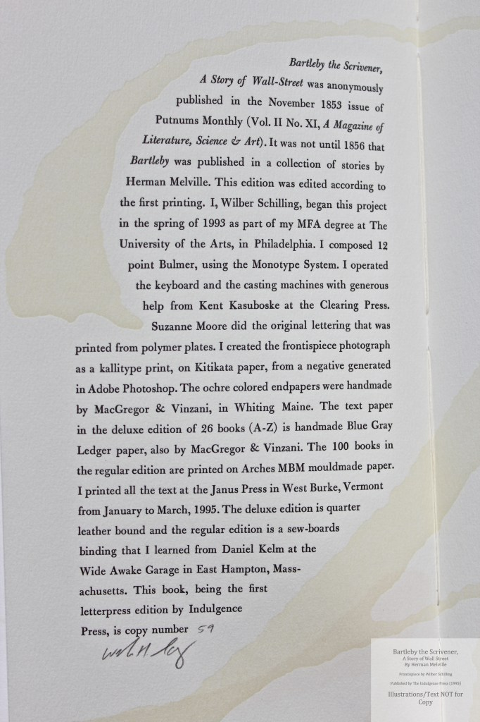 Bartleby, the Scrivener: A Story of Wall Street, Indulgence Press, Colophon