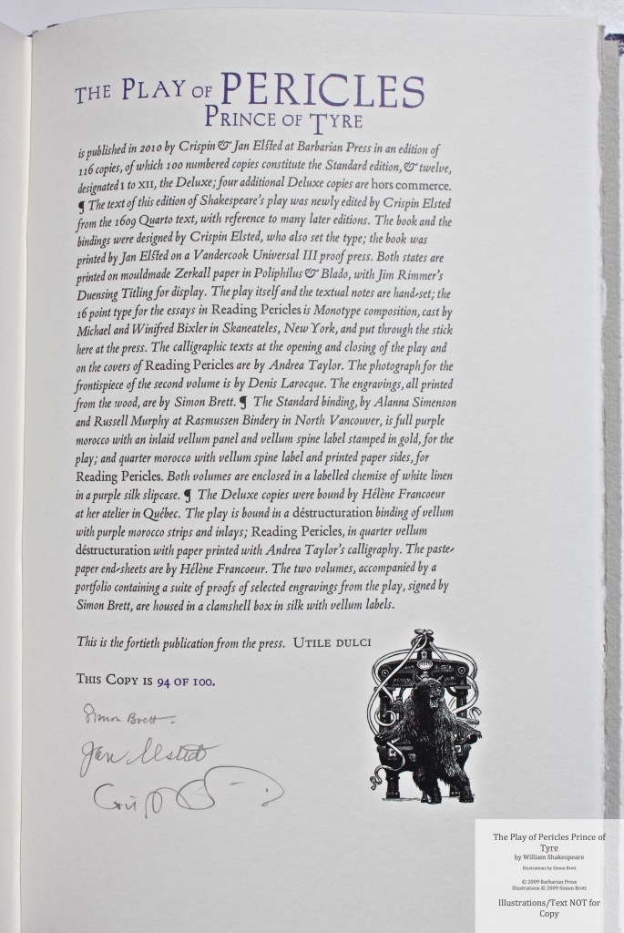 Pericles Prince of Tyre, Barbarian Press, Colophon