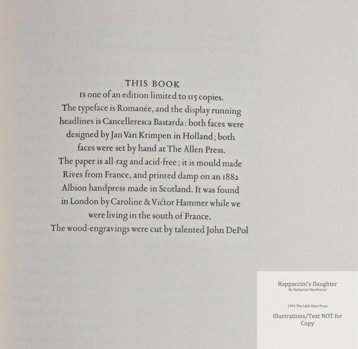 Rappaccini's Daughter, Allen Press, Colophon