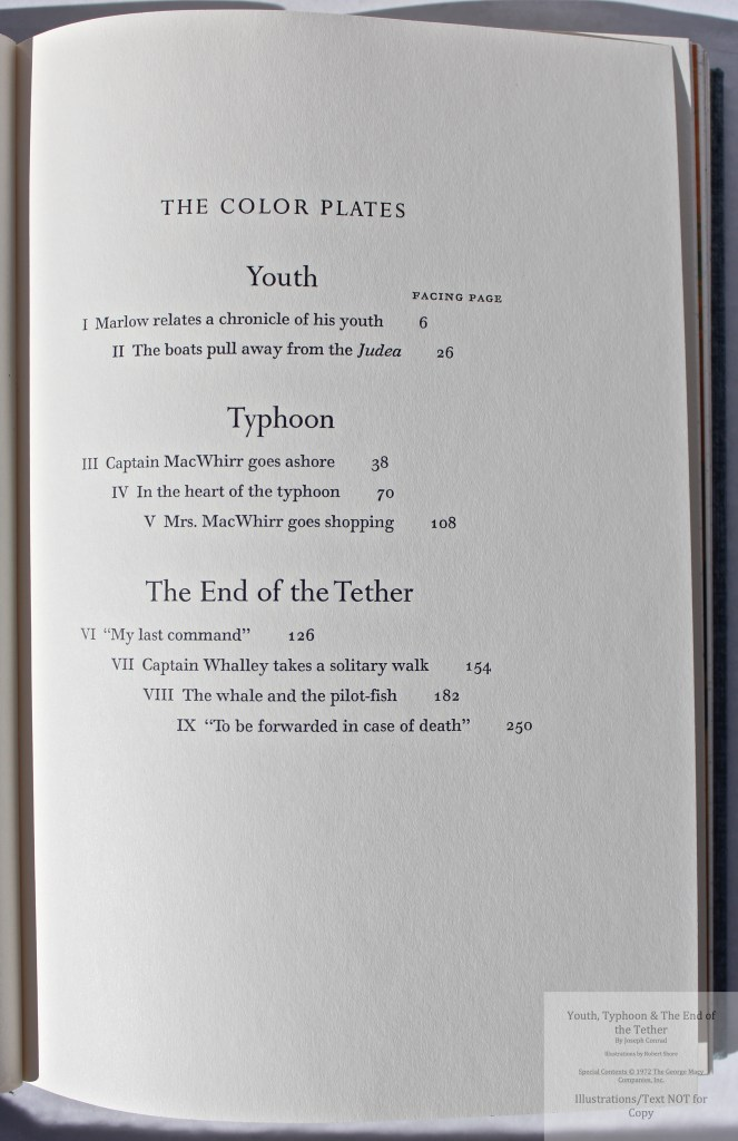 Youth, Typhoon, The End of the Tether, Limited Editions Club, Contents