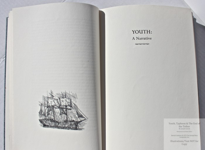 Youth, Typhoon, The End of the Tether, Limited Editions Club, Title Page of Youth