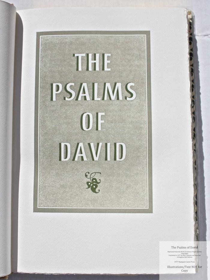 The Psalms of David, Rampant Lions Press, Title Page