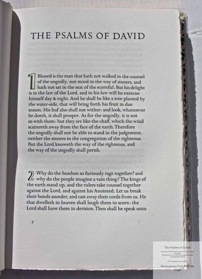 The Psalms of David, Rampant Lions Press, Sample Text #1