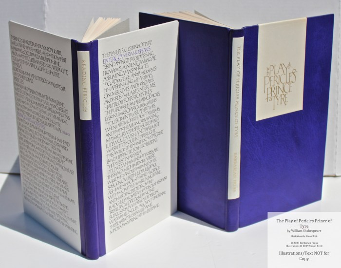 Pericles Prince of Tyre, Barbarian Press, Spines and Covers of Main Volume and Companion Volume