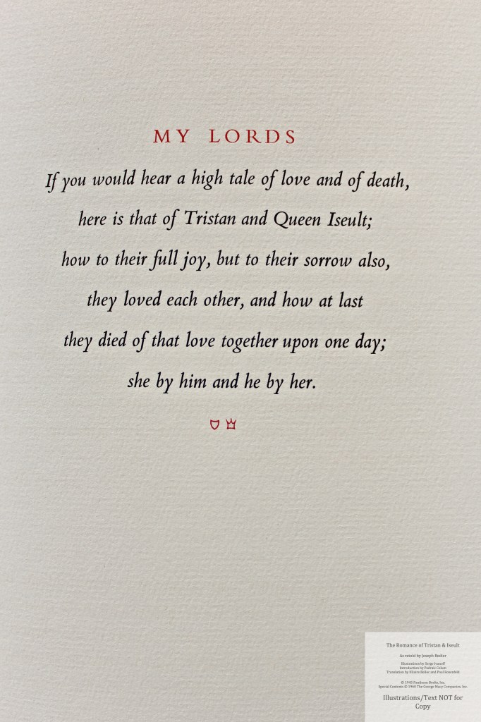 The Romance of Tristan and Iseult, Limited Editions Club, Sample Text #2