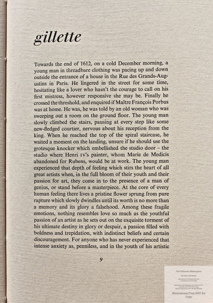 The Unknown Masterpiece, Rampant Lions Press, Sample Text #1