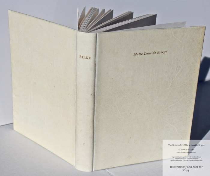The Notebooks of Malte Laurids Brigge, by Rainer Maria Rilke, Limited Editions Club, Spine and Covers
