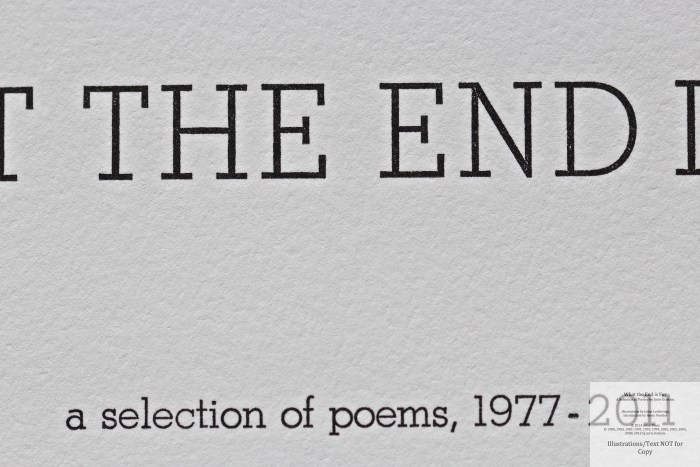 What the End is For, Arion Press, Macro of Title Page
