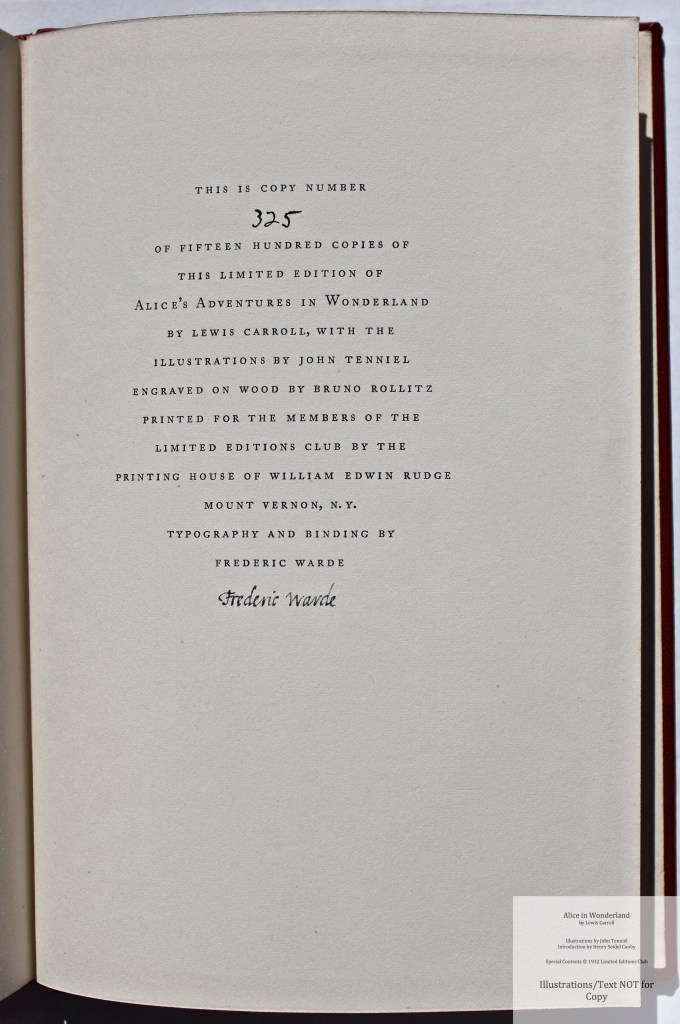 Alice in Wonderland, Limited Editions Club, Colophon