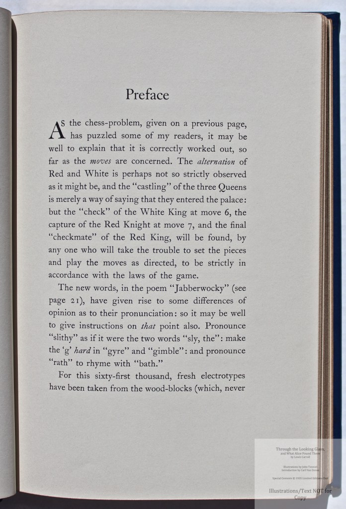 Through the Looking Glass, Limited Editions Club, Sample Text #1 (Preface)