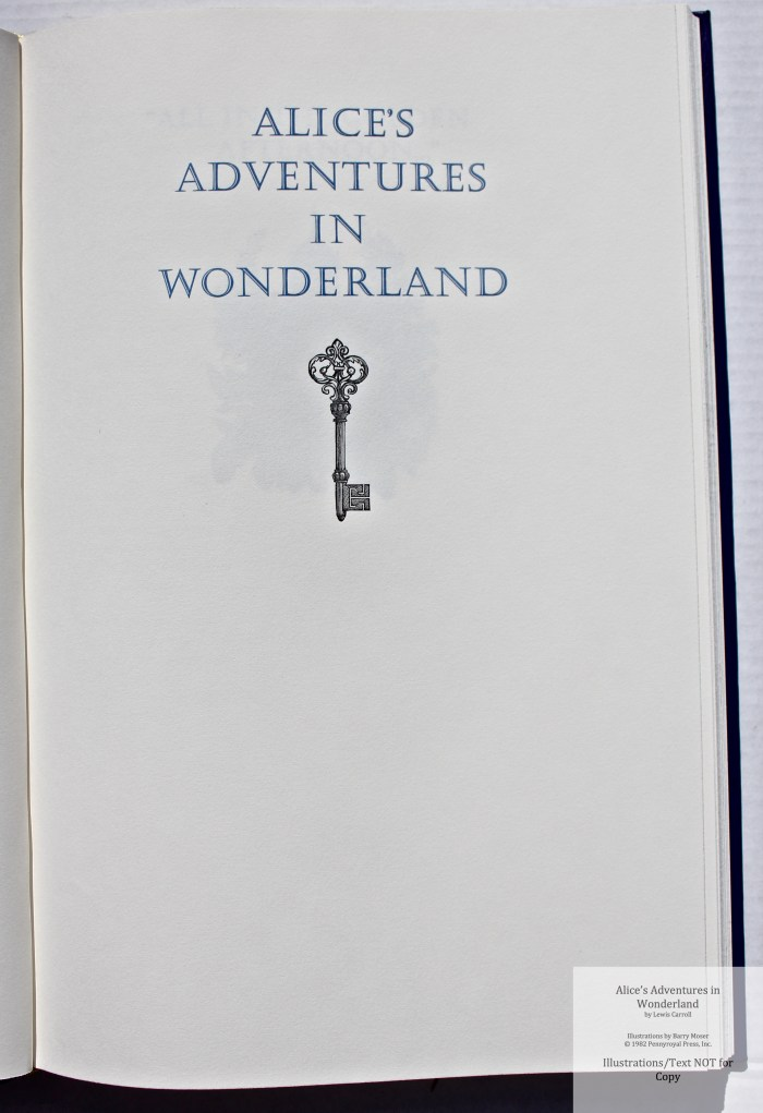 Alice's Adventures in Wonderland, Pennyroyal Press, Title
