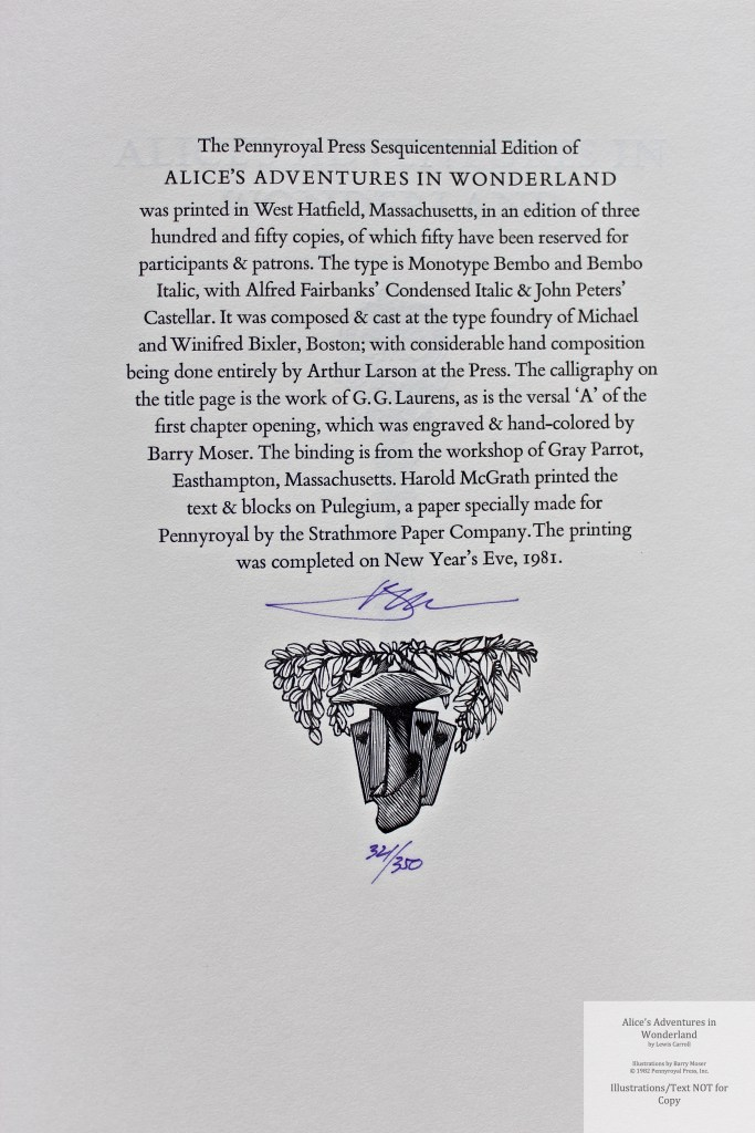 Alice's Adventures in Wonderland, Pennyroyal Press, Colophon