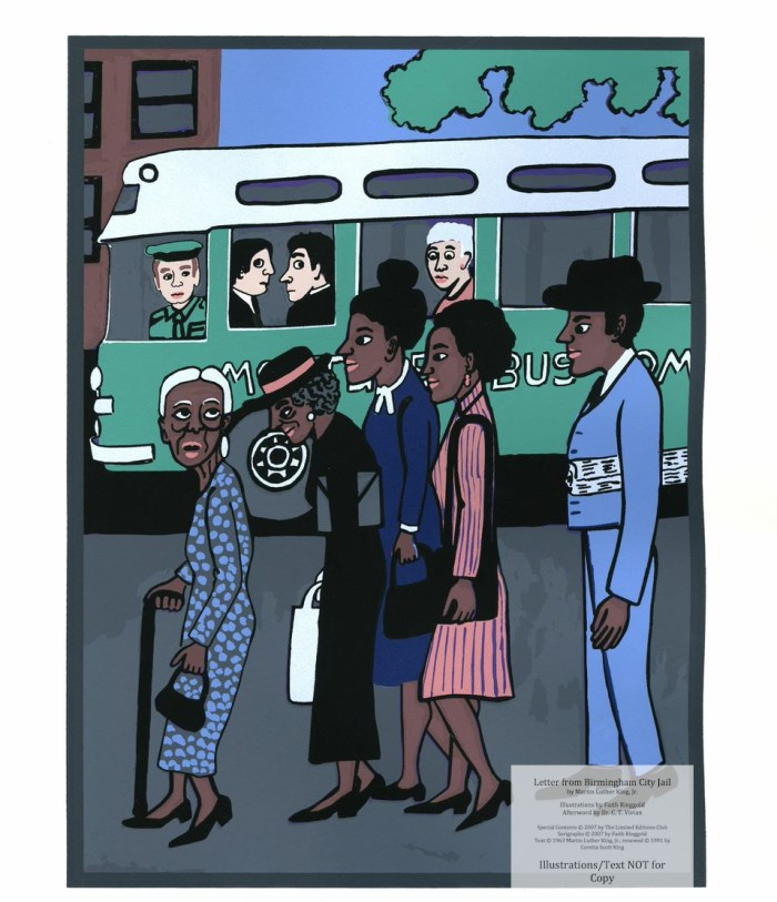 """Letter from Birmingham Jail, Limited Editions Club, Sample Illustration #8 (Montgomery Bus Boycott - """"My feet is tired but my soul is rested"""" MLK). (c) Faith Ringgold 2007"""